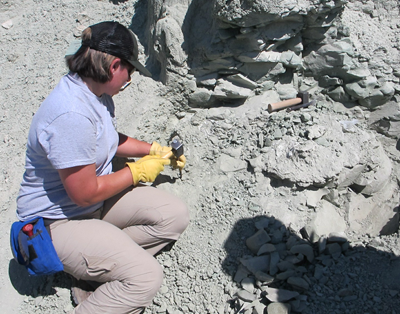 Student kneeling in a fossil bed